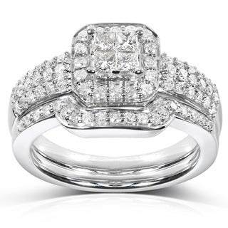 Annello 14k White Gold 5/8ct TDW Diamond Bridal Halo Ring Set