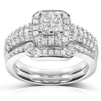 Annello by Kobelli 14k White Gold 5/8ct TDW Diamond Bridal Halo Ring Set