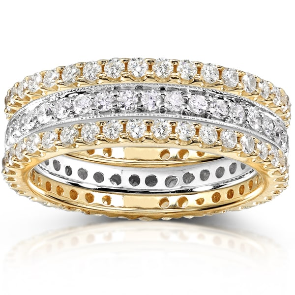 Annello by Kobelli 14k Two-tone Gold 1 1/2ct TDW Diamond 3-piece Stackable Eternity Ring Set