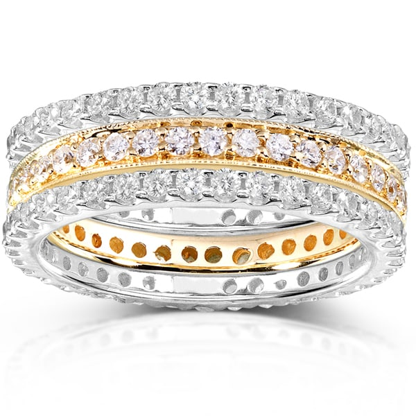 Annello by Kobelli 14k Two-tone Gold 1 1/2ct TDW Round Diamond 3-piece Stackable Eternity Ring Set