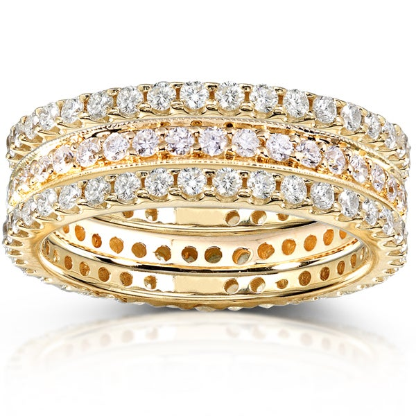 Annello by Kobelli 14k Gold 1 1/2ct TDW Round-cut Diamond 3-piece Stackable Eternity Ring Set
