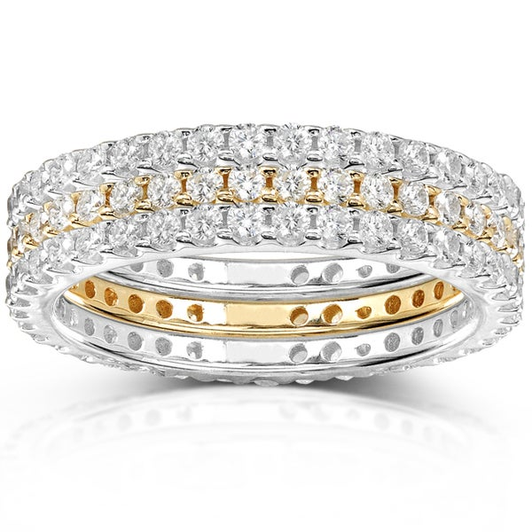 Annello 14k Two-tone Gold 1 1/2ct TDW Pave/ Prong-set Diamond 3-piece Stackable Eternity Ring Set (H-I,I1-I2)