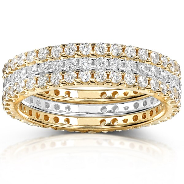 Annello by Kobelli 14k Yellow Gold 1 1/2ct TDW Diamond 3-piece Stackable Eternity Ring Set