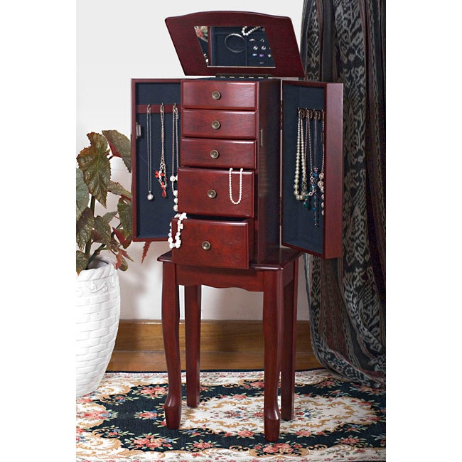 traditional style cherry jewelry armoire chest free. Black Bedroom Furniture Sets. Home Design Ideas