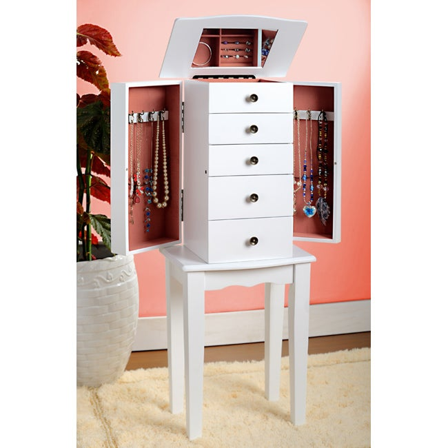 Contemporary Style White Jewelry Armoire Chest - Free ...