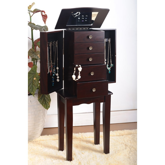 Contemporary Style Espresso Jewelry Armoire Chest