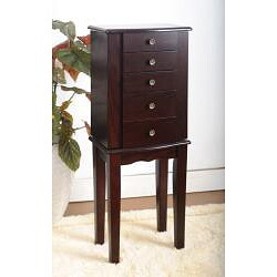 Contemporary Style Espresso Jewelry Armoire Chest - Thumbnail 1