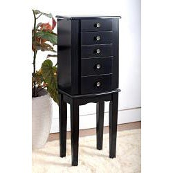 Contemporary Style Black Jewelry Armoire Chest - Thumbnail 1