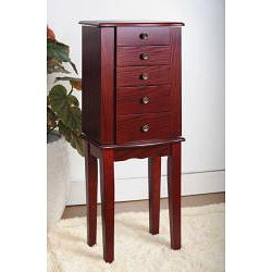 Contemporary Style Cherry Jewelry Armoire Chest