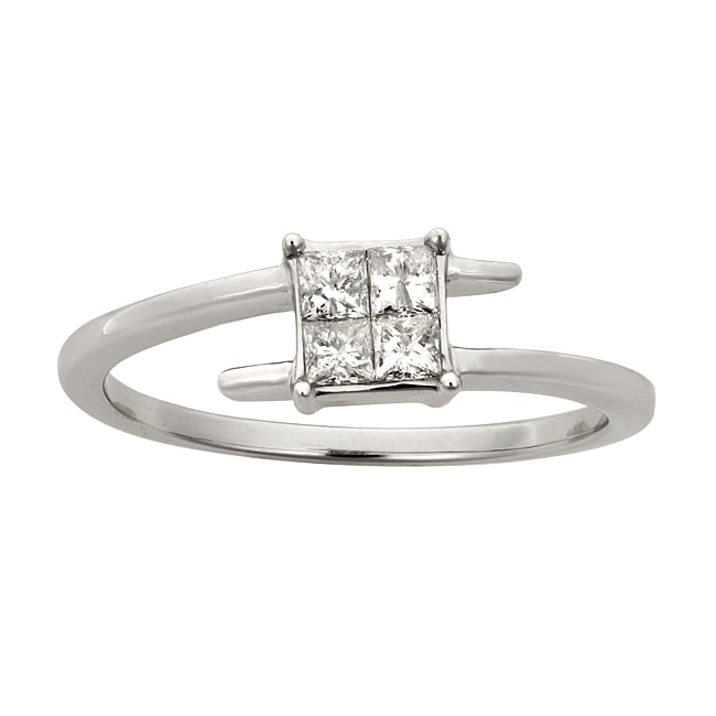 Montebello 14k White Gold 1/3ct TDW Princess Cut Diamond Twist Ring (H-I, I2)