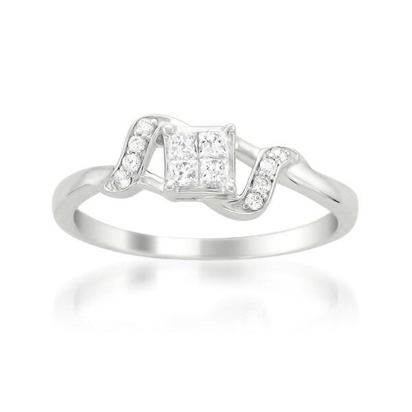 Montebello 14k White Gold 1/4ct TDW Multi Stone Princess Cut Diamond Ring