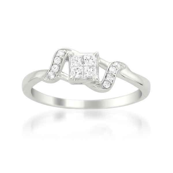 Montebello 14k White Gold 1/4ct TDW Multi Stone Princess Cut Diamond Ring