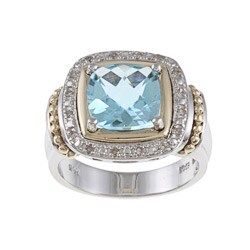 14k Gold/ Silver Blue Topaz and 1/10ct TDW Diamond Ring (J-K, I1-I2)