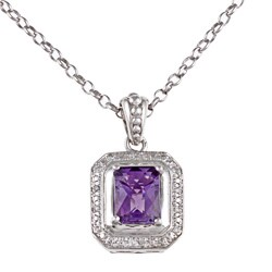 Sofia Sterling Silver Amethyst and 1/10ct TDW Diamond Necklace (I-J, I2-I3)