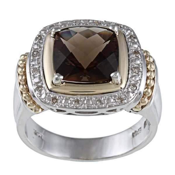 14k Gold/ Silver Smokey Quartz and 1/10ct TDW Diamond Ring (J-K, I1-I2)