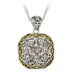 Mondevio Two-tone Brass Square-filigree Women's Necklace with Rolo Chain