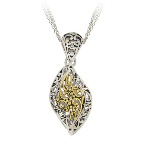 Mondevio 18k Yellow Gold Overlay Marquise Wave Filigree Necklace