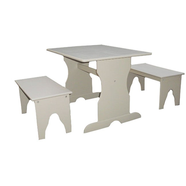 Juvenile Linen White Table With Two Benches Free