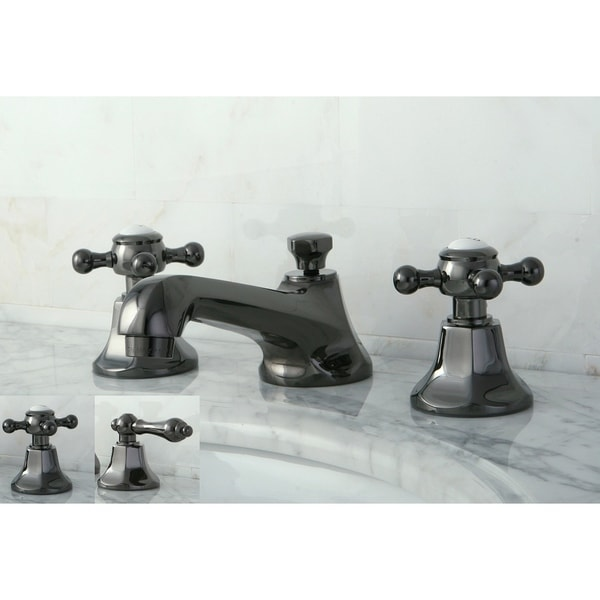 Double Handle Widespread Black Stainless Steel Bathroom Faucet