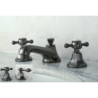 Double-handle Widespread Black Stainless Steel Bathroom Faucet