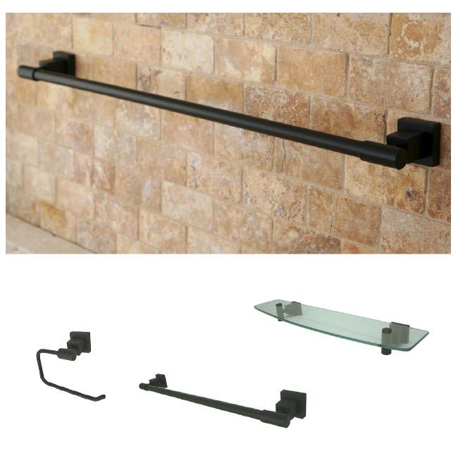 Oil Rubbed Bronze 3 Piece Shelf And Towel Bar Bathroom Accessory Set