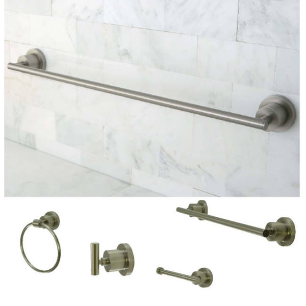 Satin Nickel Finish Four Piece Bathroom Accessory Set Free Shipping Today Overstock 13862515