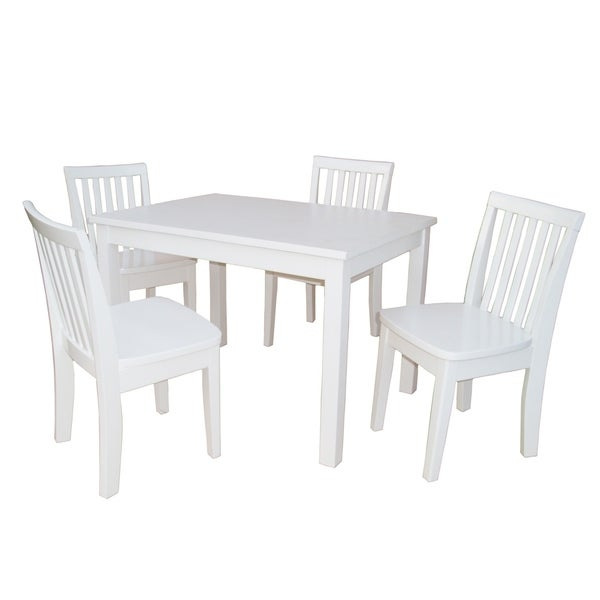 Shop Juvenile Linen White Table with Four Chairs Set - On ...