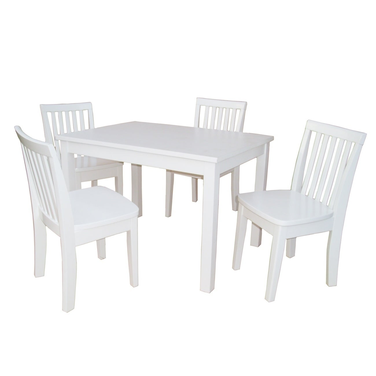 Juvenile Linen White Table with Four Chairs Set (/)
