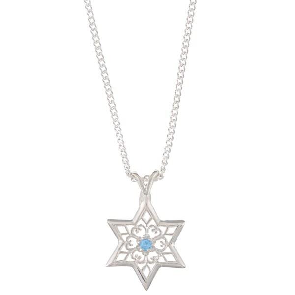 Sterling Silver Blue Topaz Floral Star of David Necklace