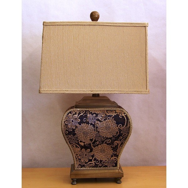 Traditional Black and Gold Tapestry Table Lamp