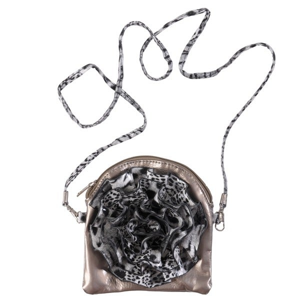 Journee Collection Small Animal-Print Floral-Detail Zip-Top Cross-Body Bag