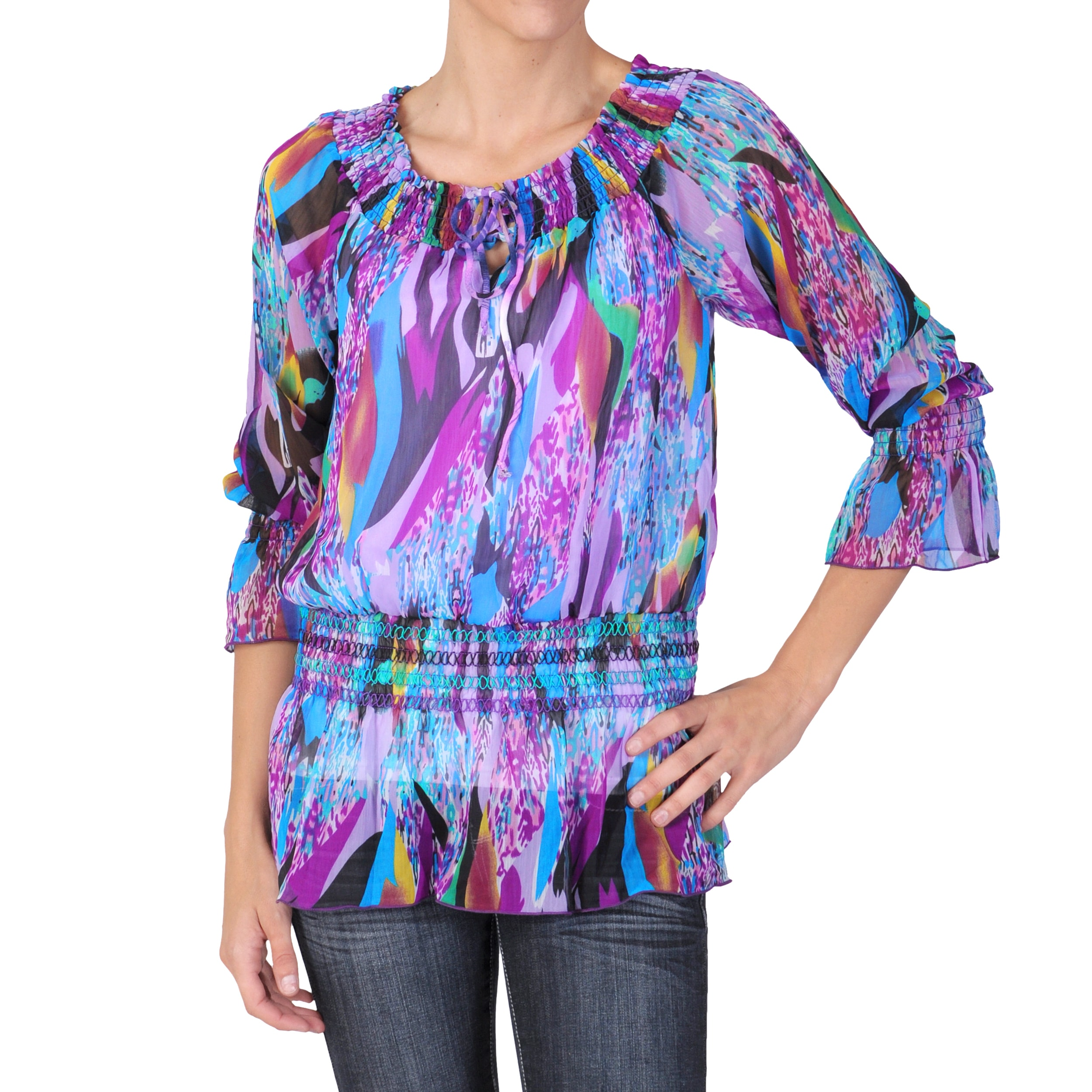 Hailey Jeans Co. Juniors Chiffon Boatneck 3/4-sleeve Top
