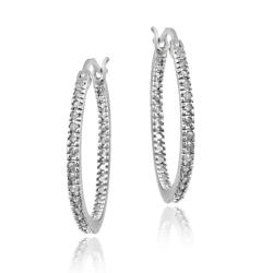 DB Designs Sterling Silver 1/4ct TDW Diamond Round Hoop Earrings