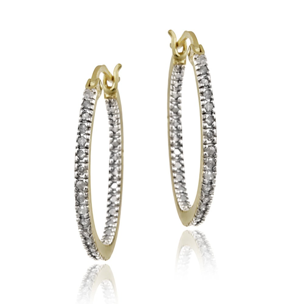 DB Designs 18k Gold over Silver 1/4ct TDW Diamond Round Hoop Earrings (I-J, I2-I3)