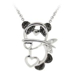 DB Designs Sterling Silver Black Diamond Accent Panda Bear Heart Necklace