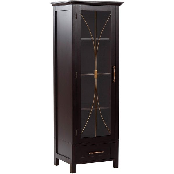 Veranda Bay Dark Espresso Linen Storage Cabinet by Elegant Home Fashions