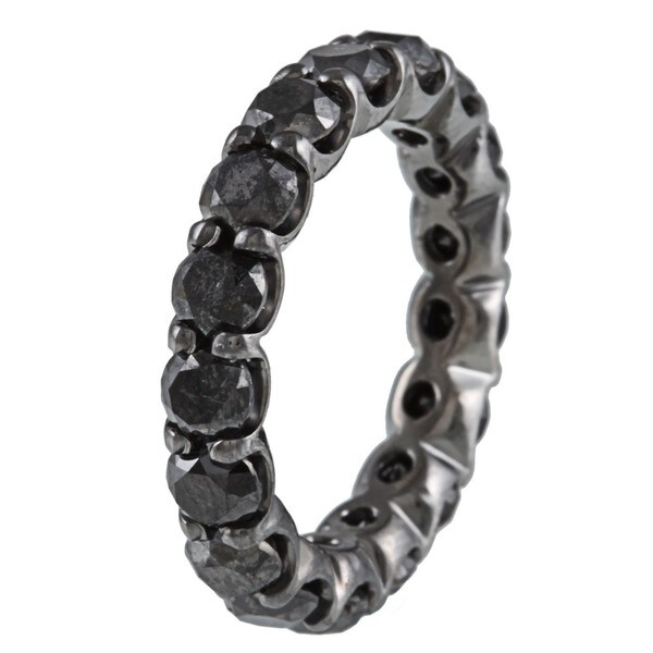 Victoria Kay 14k Gold and Black Rhodium 5 1/3ct TDW Black Diamond Eternity Band
