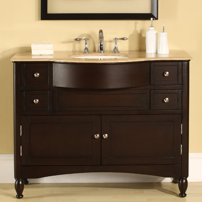 Silkroad Exclusive Travertine Top 45 Inch Single Sink Vanity Cabinet Free S