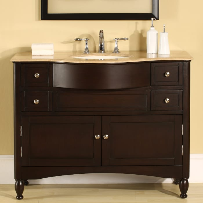 Vanity Single Sink : Silkroad Exclusive Travertine Top 45-inch Single Sink Vanity Cabinet ...