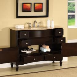 Silkroad Exclusive Travertine Top 45-inch Single Sink Vanity Cabinet