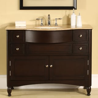 Silkroad Exclusive Travertine Top 45-inch Single Sink Vanity Cabinet
