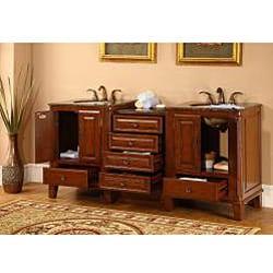 Silkroad Exclusive Granite Top 76-inch Double Sink Vanity Cabinet - Thumbnail 1