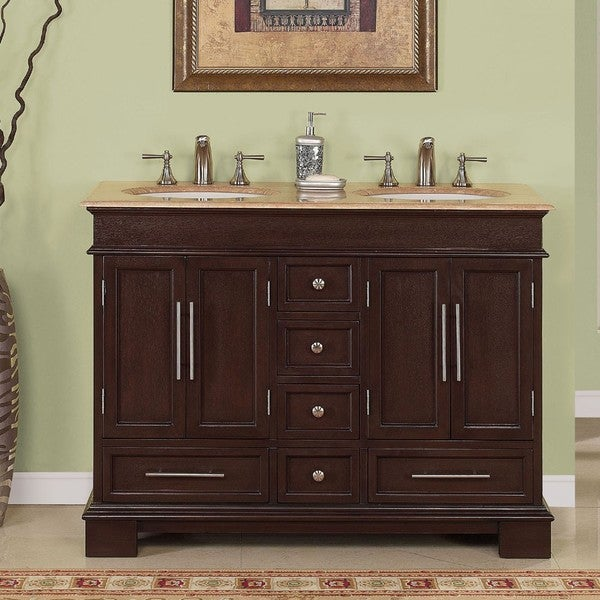 Silkroad Exclusive Travertine Top 48 Inch Double Sink Vanity Cabinet White