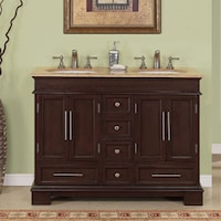 double sink vanity 48 inches. Silkroad Exclusive Travertine Top 48 Inch Double Sink Vanity Cabinet  White Mesa Bathroom Free