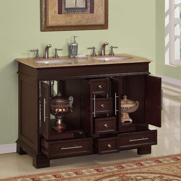 Silkroad Exclusive Travertine Top 48 inch Double sink Vanity Cabinet  Free Shipping Today Overstock com 13862831