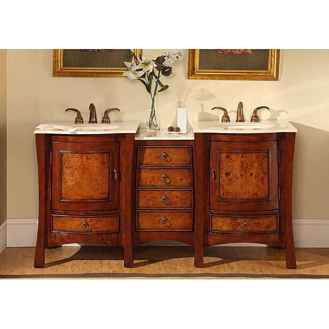 silkroad exclusive marble top 67 inch double sink vanity