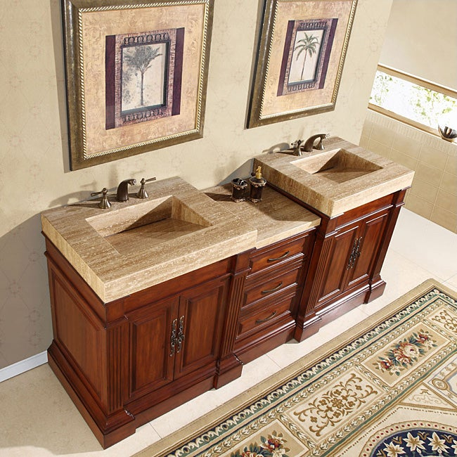 silkroad exclusive travertine top 83 inch double sink vanity cabinet free shipping today. Black Bedroom Furniture Sets. Home Design Ideas