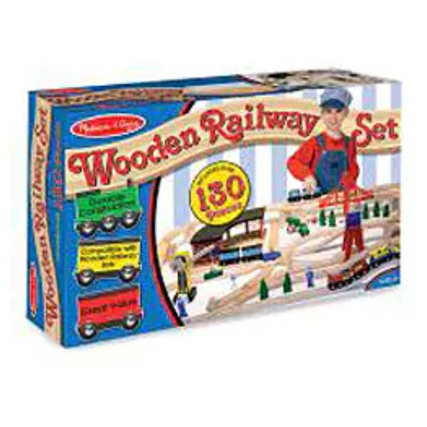 Shop Melissa Doug Wooden Railway Play Set Brown Free