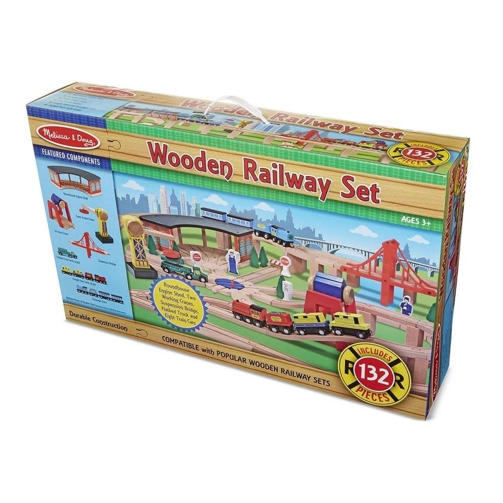 Melissa Doug Wooden Railway Play Set Brown