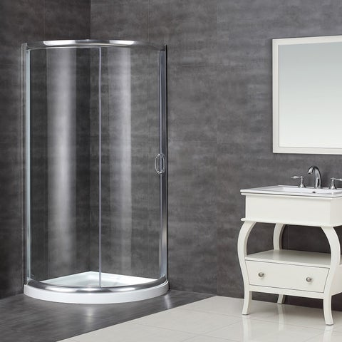 Aston 36-in x 36-in Semi-Frameless Round Bypass Shower Enclosure in Chrome with Base